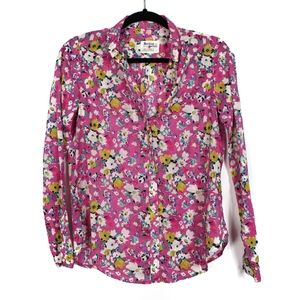 Holding Horses 0 Pink Floral Blouse Collared Top
